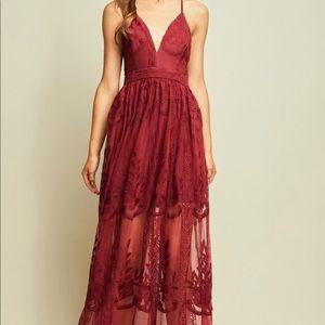 Dresses & Skirts - Gorgeous burgundy lace maxi dress!